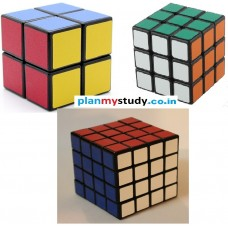 Rubik's Cube combo of 3 Cubes 2x2x2, 3x3x3, 4x4x4 Smooth, Lightsome, Excellent Quality, Competition Cube